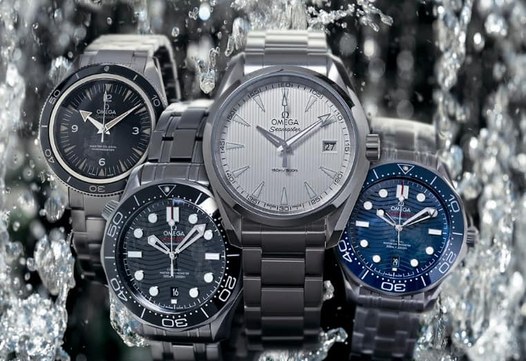display of popular omega watch models